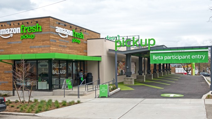 SEATTLE, WASHINGTON/USA - March 31, 2017: Amazon Fresh Grocery Pickup Just Opened For Beta Participant Testing in the Ballard Neighborhood of Seattle.