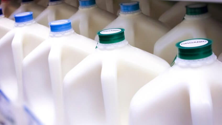 Bottles specifically labeled ORGANIC milk.