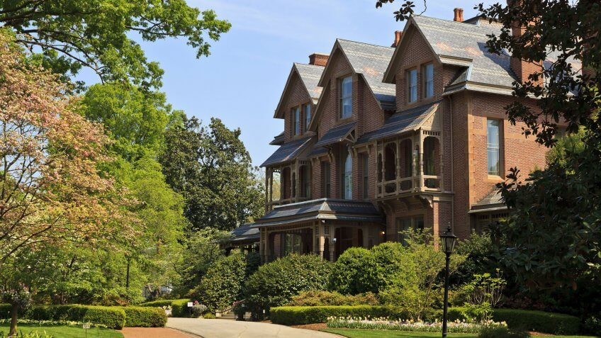Raleigh, North Carolina, USA - April 4, 2012: North Carolina Executive Mansion in Raleigh, built 1883 Queen Anne style architecture.