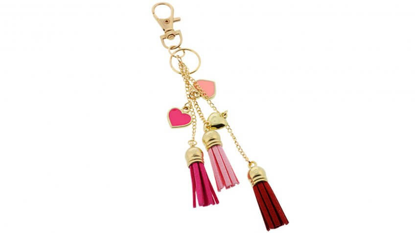 Metal Carabiner Keychains with Tassels and Hearts