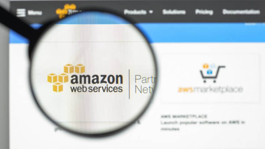 Milan, Italy - August 10, 2017: Amazon web services website homepage.