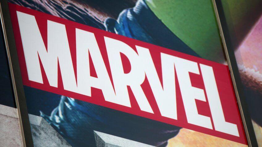 "CIRCA AUGUST 2014 - BERLIN: the logo of the brand ""Marvel"", Berlin."