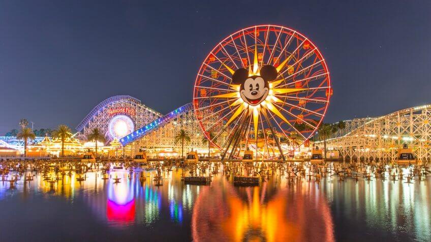 Anaheim, CA USA - August 22, 2015: Disneyland 60th aniversary at Cars Land.