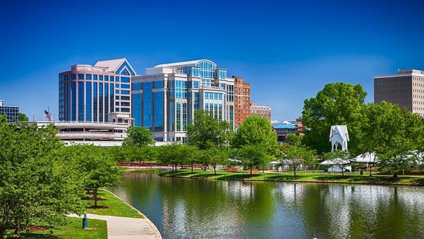 Downtown Huntsville, Alabama on a sunny day.