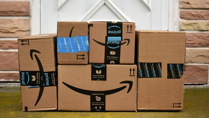 HAGERSTOWN, MD, USA - MAY 5, 2017: Image of an Amazon packages.