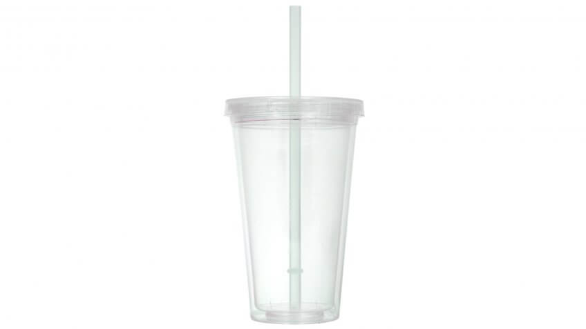 Double-Wall Clear Case Plastic Tumblers, 16 ounce