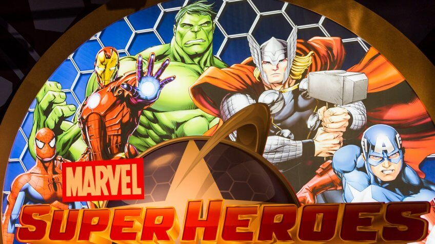 NEW YORK, USA - SEP 22, 2015: Marvel Superheores in Madame Tussaud wax museum, TImes Square, New York City.