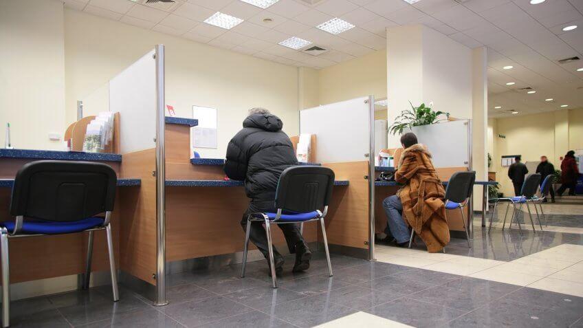 sitting inside a bank