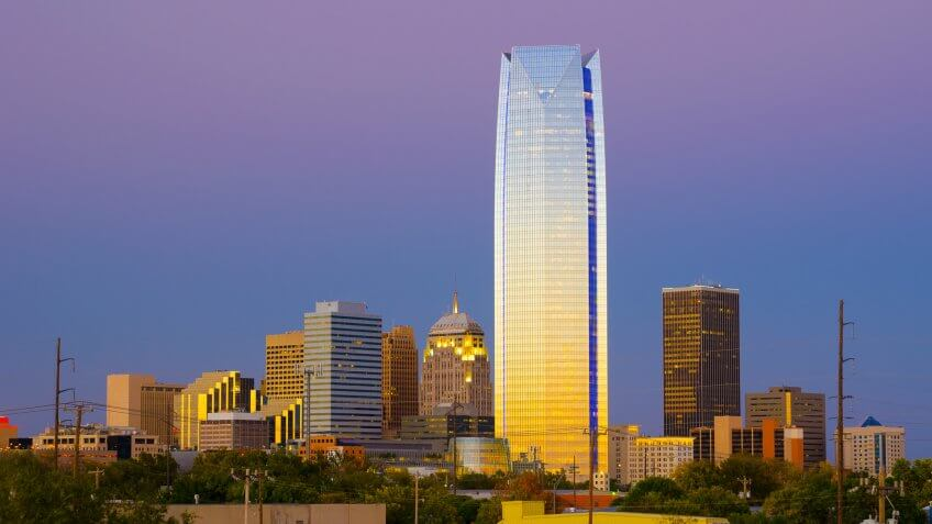 Oklahoma City skyline at dusk, prominently featuring Devon Tower.