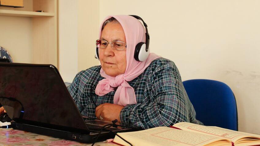 Elder Lady Studying on Laptop