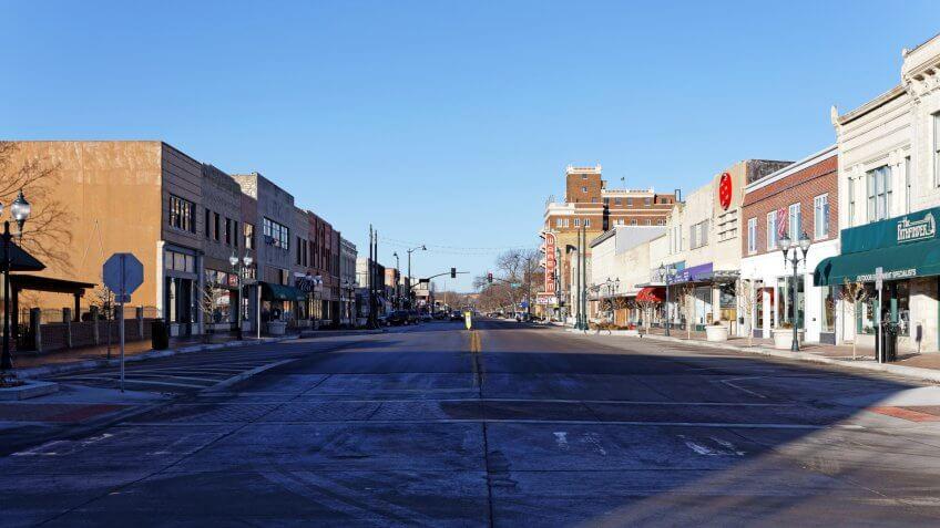 Manhattan, KS, USA - February 8, 2015: The downtown district of Manhattan, Kansas.