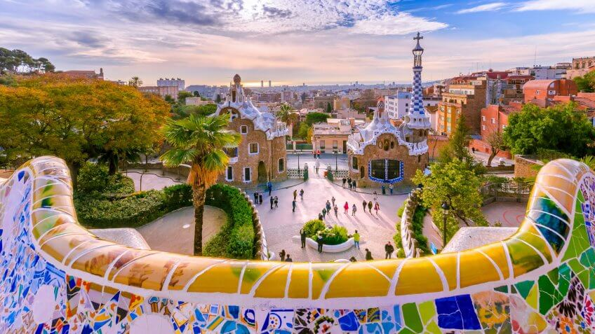 View of the city from Park Guell in Barcelona.
