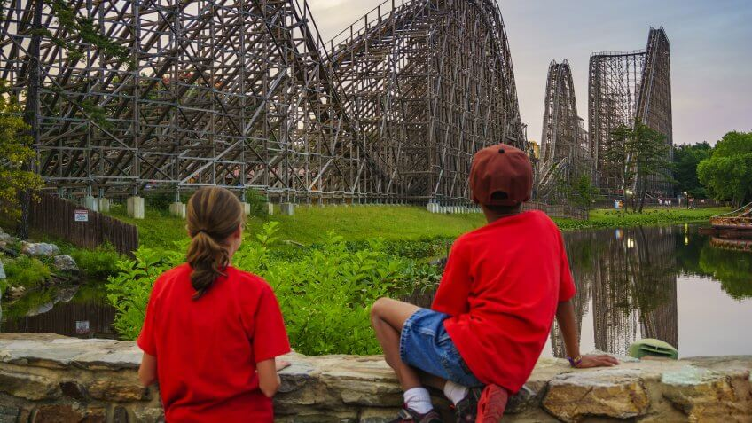 NEW JERSEY USA - JUNE 20 2016: The beautiful Six Flags Great Adventure amusement park with the reflections of El Toro roller coaster at New Jersey, USA.