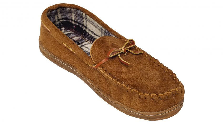 Men's Brown Moccasin Slippers