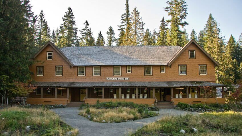 National Park Inn, Mount Rainier National Park, Longmire, Washington USA.