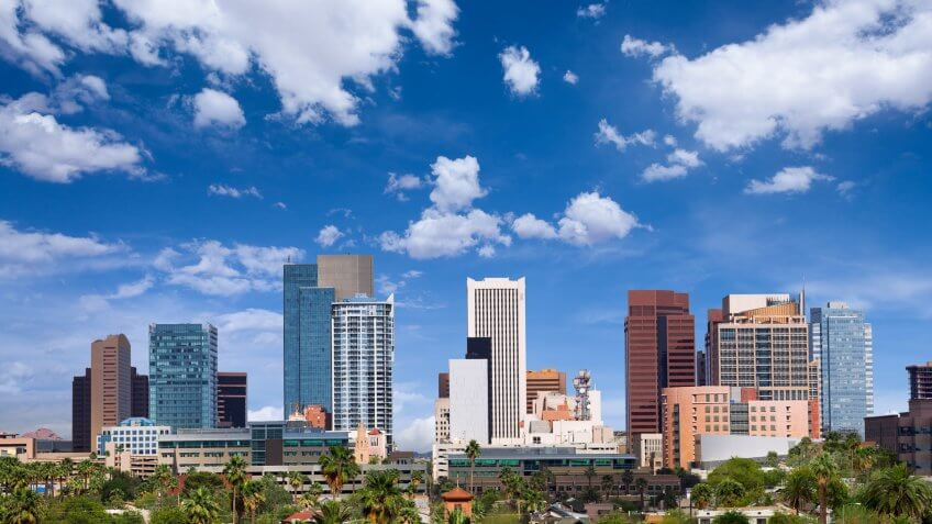 Skyline of downtown Phoenix, Arizona.
