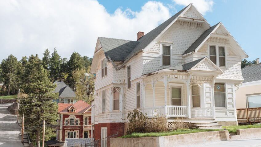 Lead, United States - May 8, 2016: Historic residential Victorian style homes are actively used and abudant in this Western South Dakota Black Hills town.