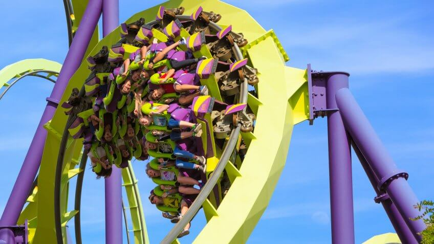 VALLEJO, CALIFORNIA, USA JUNE 14th, 2016: Roller coaster Medusa is steel, 3,937 feet high, the longest and highest coaster in Northern California at Six Flags Discovery Kingdom.