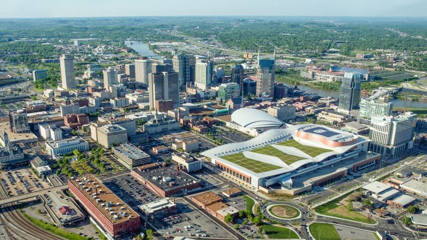 Aerial View of Nashville Tennessee from the South.