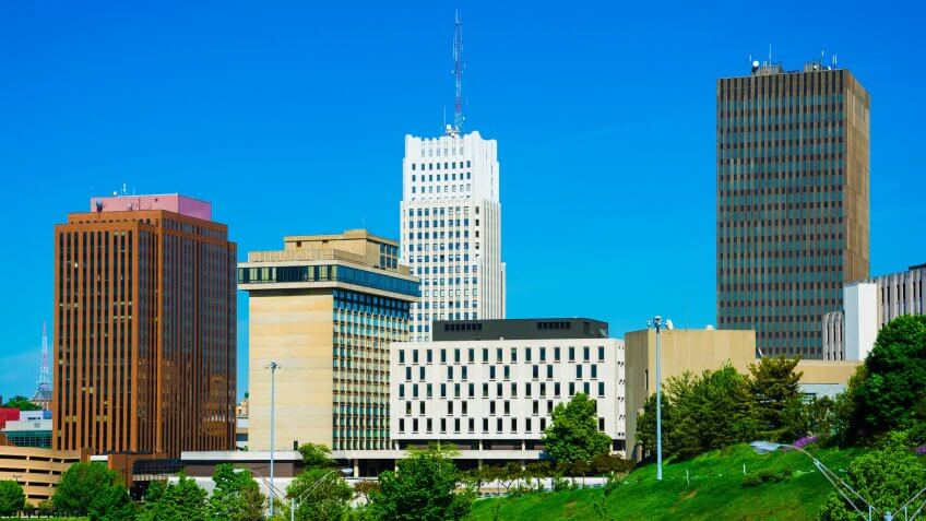 Akron downtown skyline buildings closeup, including the art deco FirstMerit Tower.