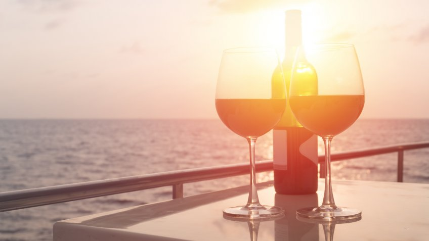 Romantic luxury evening on cruise yacht with winery setting.