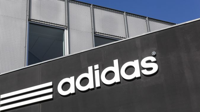 Skejby, Denmark - May 1, 2016: Adidas logo on a wall.