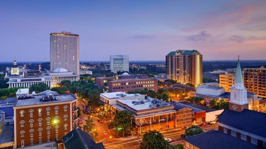 Tallahassee Florida dusk skyline