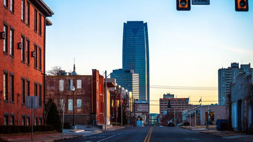 Oklahoma City, USA - Winter in the city, near downtown.