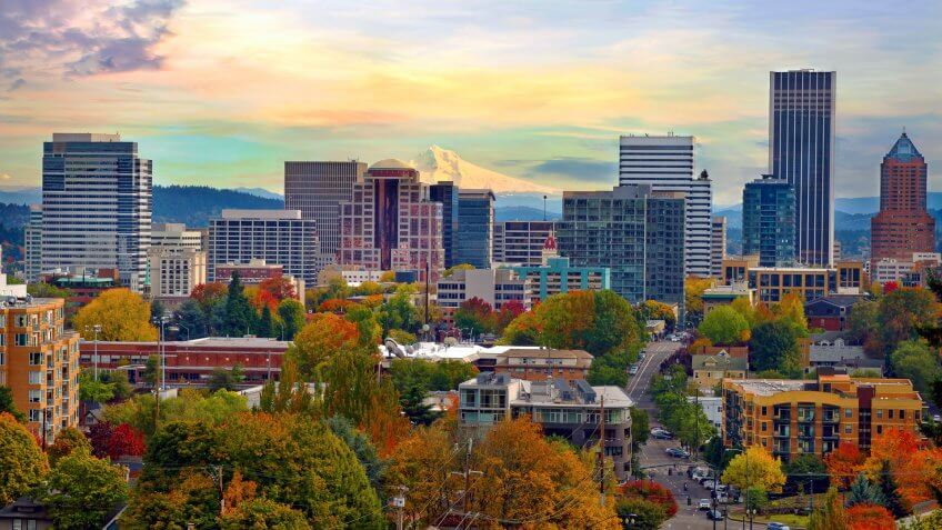 One beautiful Autumn day in Portland Oregon downtown from Vista Bridge with view of Mount Hood City Skyline and Trees with Fall Color Foliage.