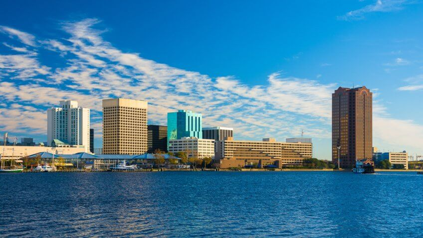 Downtown Norfolk skyline with the Elizabeth River in the foreground.