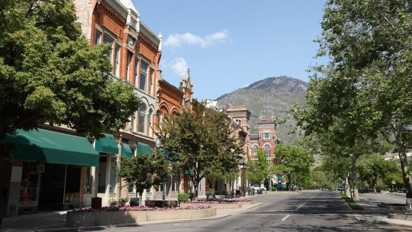 Provo Utah downtown main street during Summer
