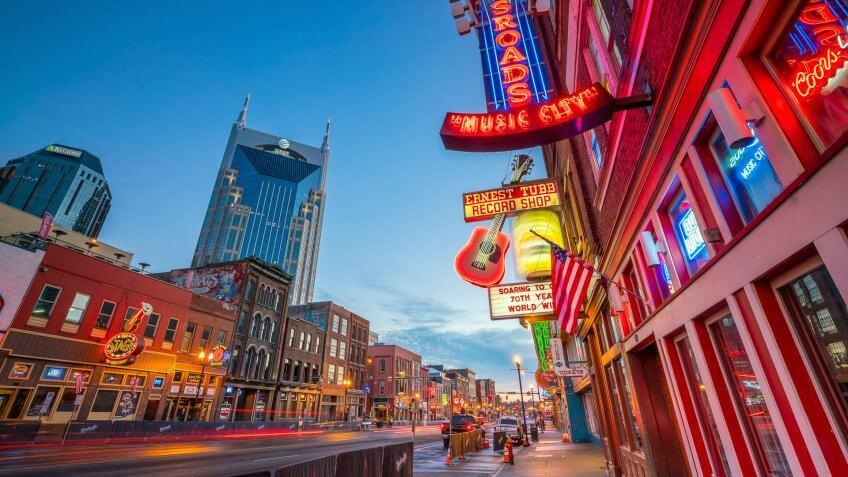 Nashville Tennessee city street at dusk