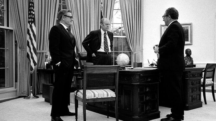 1975-President-Ford-Kissinger-Rockefeller, 1977-President-Ford-Kissinger-Rockefeller