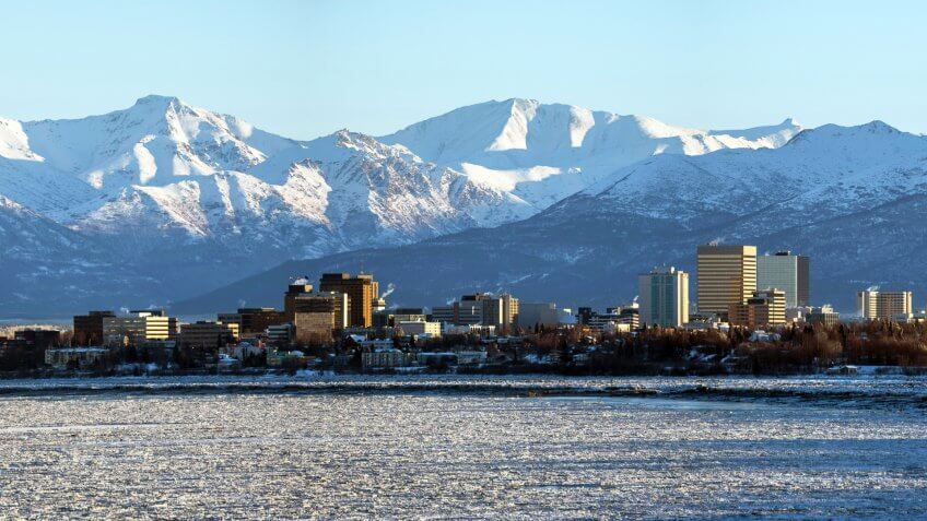 Anchorage, Alaska skyline shortly after sunrise.