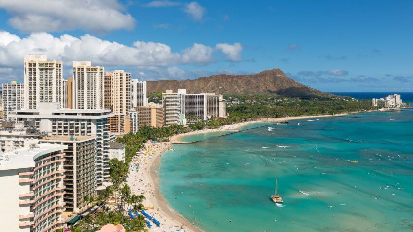 Scenic view of Honolulu city and Waikiki Beach, Hawaii, USA.