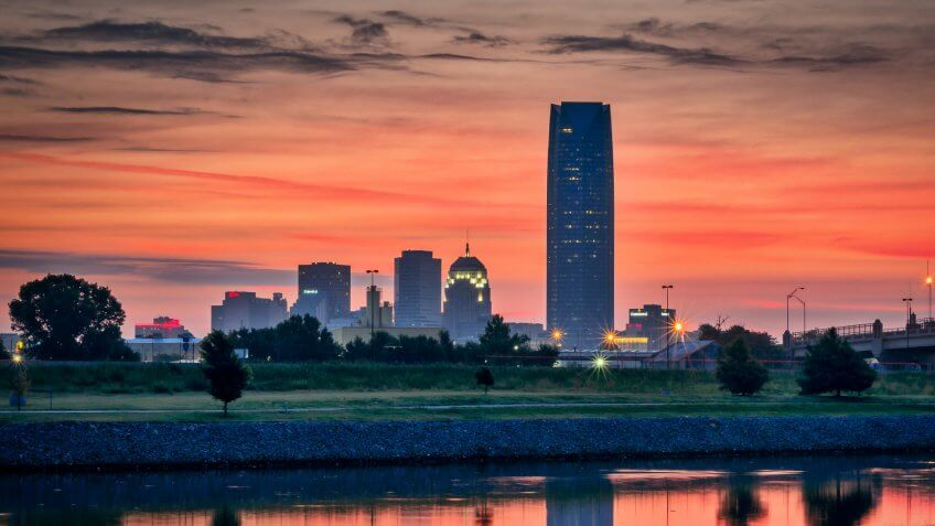 Sunrise overlooking downtown Oklahoma City.