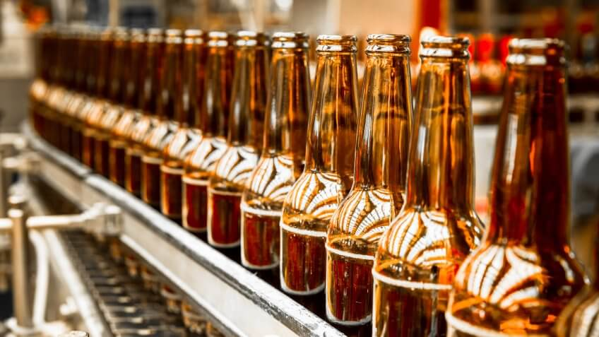 glass beverage bottles in a factory
