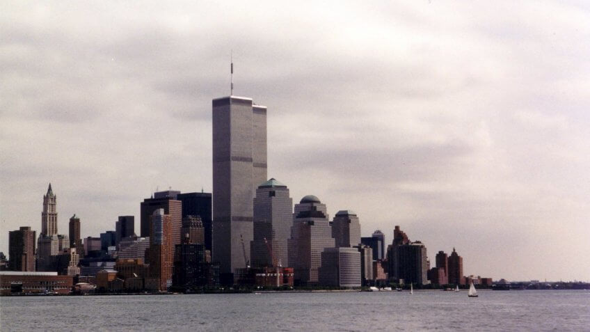 The World Trade Center as seen from Jersey City.