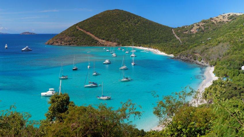 panoramic view of tropical shoreline in British Virgin Island (BVI), Caribbean.