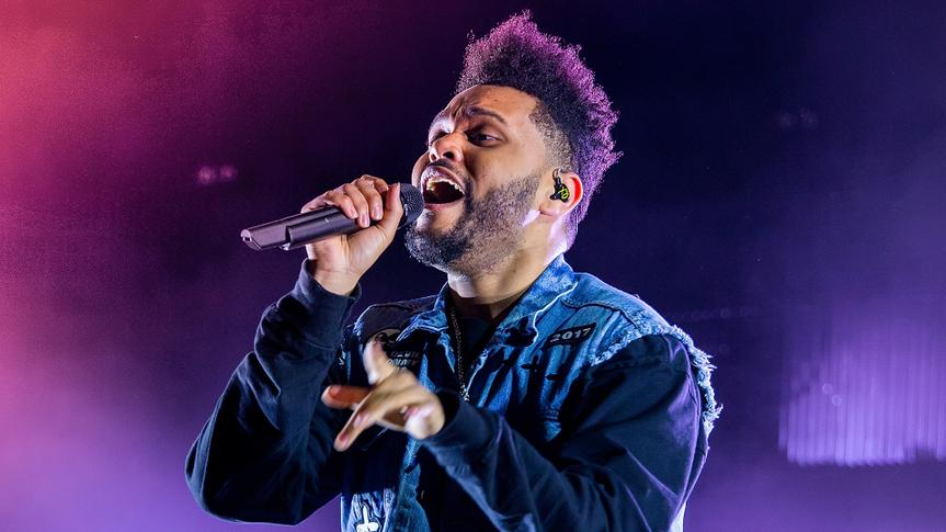 BENICASSIM, SPAIN - JUL 13: The Weeknd (Rhythm and blues music band) perform in concert at FIB Festival on July 13, 2017 in Benicassim, Spain.