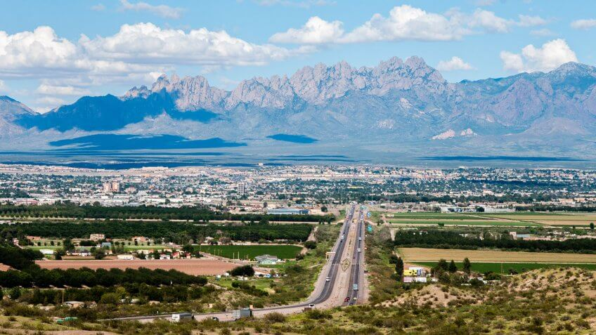 This scenic view shows the city of Las Cruces, New Mexico and the distant Organ Mountains.