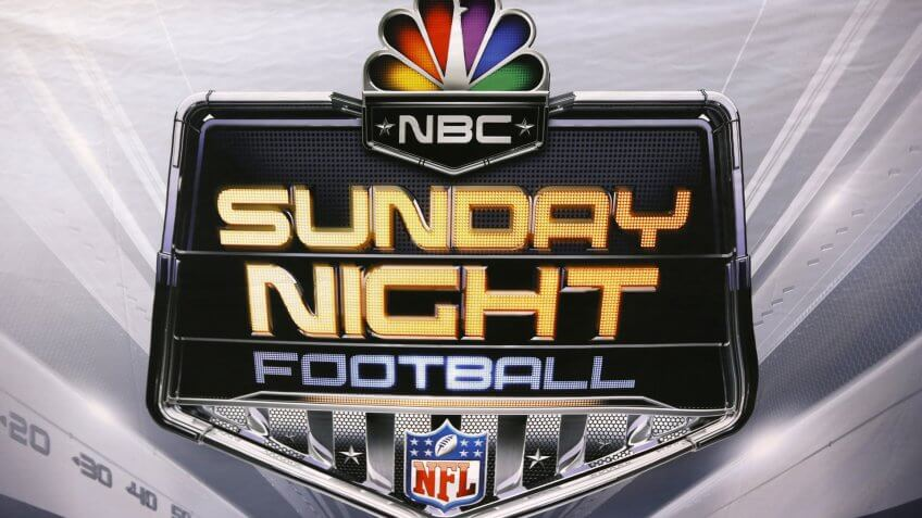 This is the NBC Sunday Night Football logo at Heinz Field before an NFL football game between the Pittsburgh Steelers and the Baltimore Ravens in PittsburghRavens Steelers Football, Pittsburgh, USA - 10 Dec 2017.