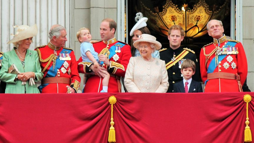 Queen Elizabeth & Royal family, Buckingham Palace, London June 2015- Trooping the Colour, Prince Georges 1st appearance on Balcony Palace for Queens Birthday, June 13, 2015 in London, England, UK.