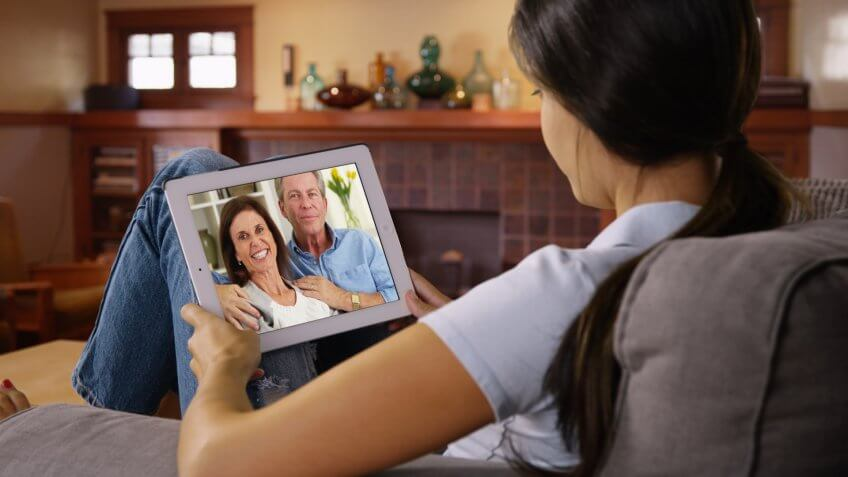 Video chatting on a tablet