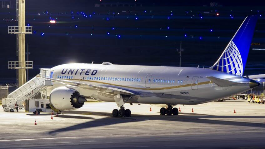 Boeing 787-8 Dreamliner of United Airlines parked at Guarulhos International Airport, Sao Paulo Brazil at night.