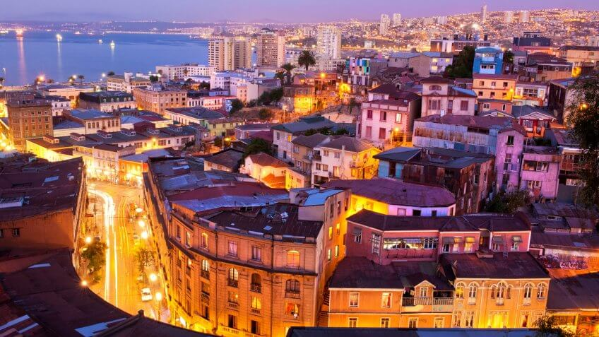 the historic quarter of Valparaiso, declared a UNESCO World Heritage Site in 2003, by night.