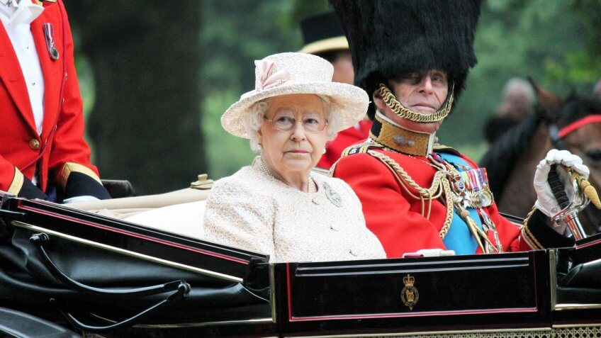 QUEEN ELIZABETH & PRINCE PHILIP, London, UK - June 13: The Royal Family appears during Trooping the Colour ceremony for Queens Birthday, on June 13, 2015 in London, England, UK.