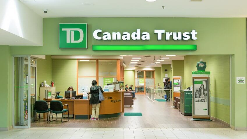 TORONTO,CANADA-OCTOBER 8,2014: TD Bank branch entrance.