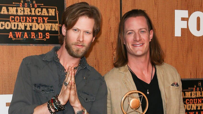 Singers Brian Kelley (L) and Tyler Hubbard of Florida Georgia Line attend the 2016 American Country Countdown Awards at The Forum on May 01, 2016 in Inglewood, California.
