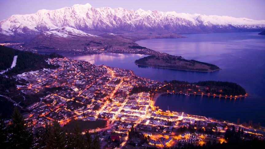 Aerial View of Queenstown with City Lights, New Zealand.